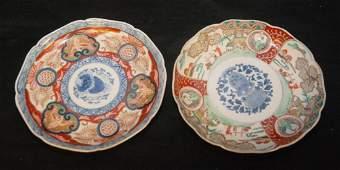 TWO JAPANESE IMARI PORCELAIN CHINESE STYLE PLATES