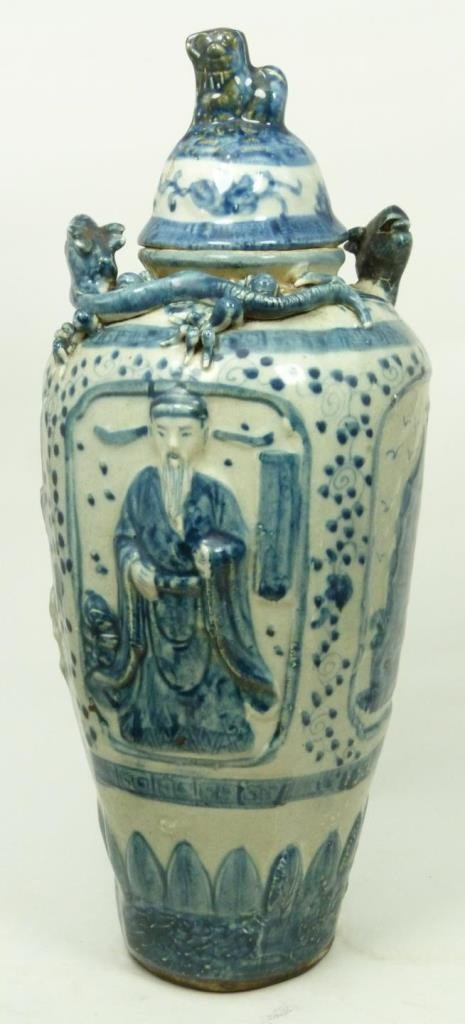 LARGE CHINESE LIDDED IMMORTAL VASE
