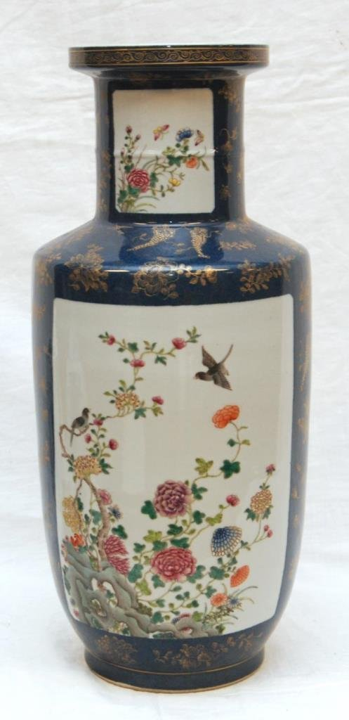 ANTIQUE CHINESE BLUE & GOLD FAMILLE ROSE VASE