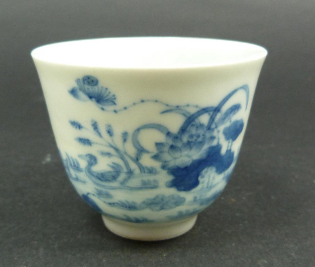18th C CHINESE BLUE & WHITE CALLIGRAPHY CUP