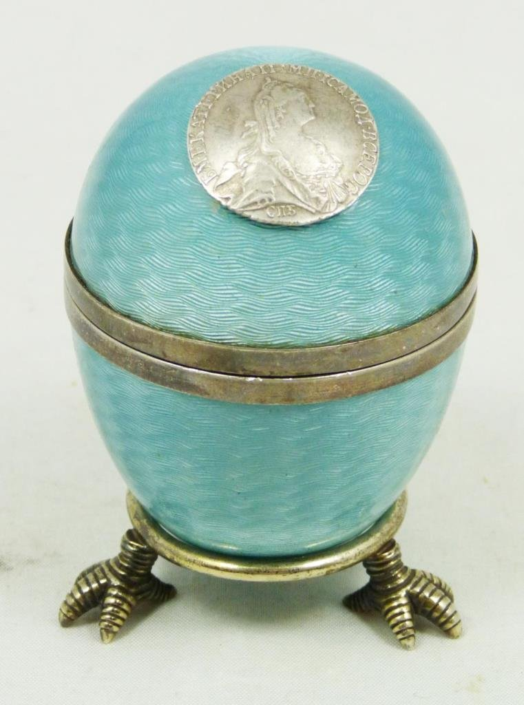 RUSSIAN GUILLOCHE ENAMEL SILVER EGG ON STAND