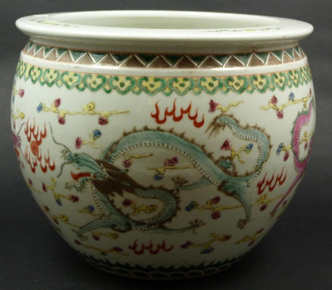 19th C CHINESE FAMILLE ROSE DRAGONS PLANTER