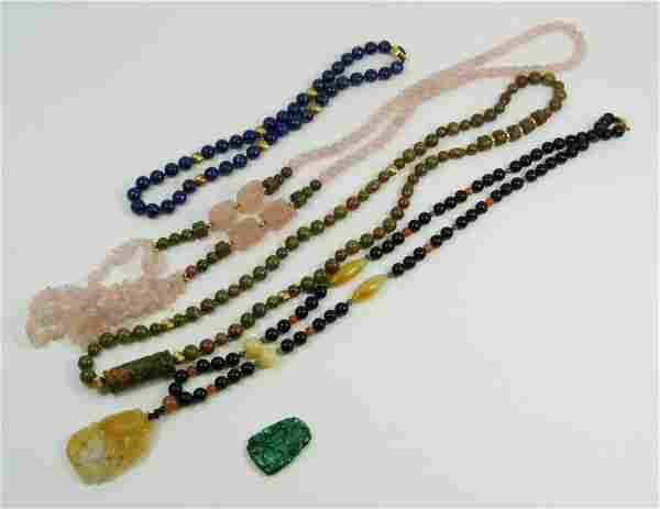 LOT 4 CHINESE NECKLACES WITH MALACHITE PENDANT