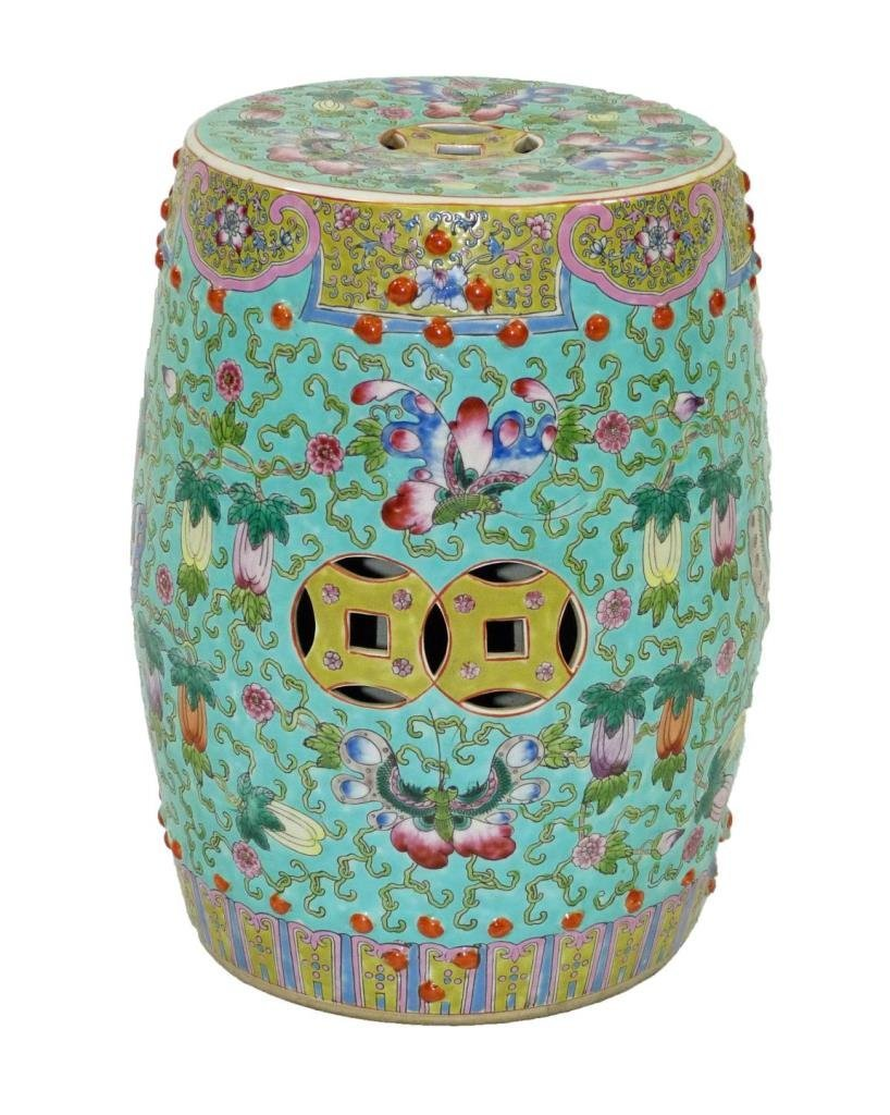 CHINESE PORCELAIN BUTTERFLY GARDEN STOOL
