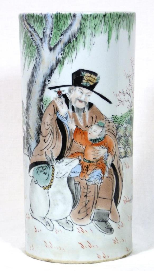 CHINESE PORCELAIN CYLINDRICAL VASE OF MAN & CHILD