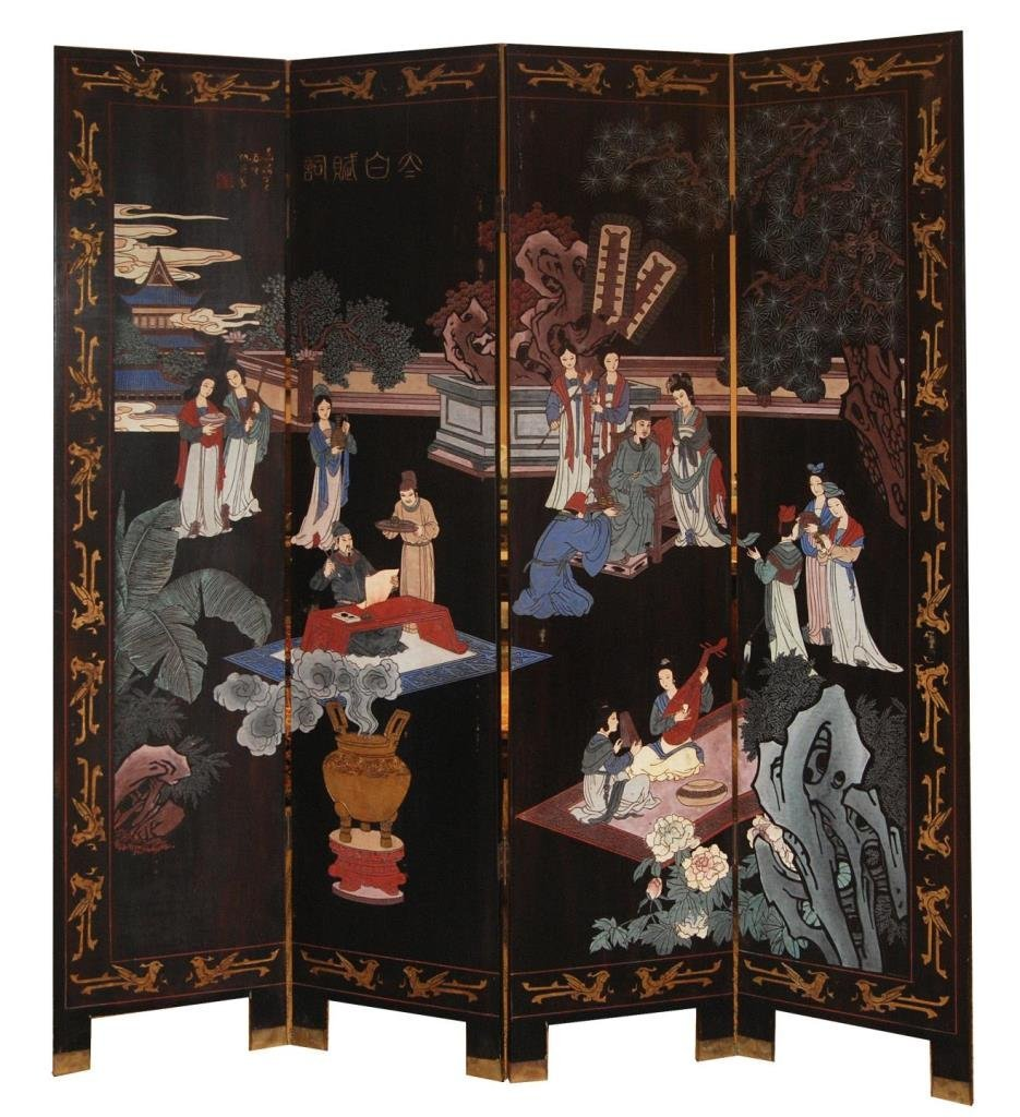 REPUBLIC WOODEN 4 PANEL SCREEN AFTER ZHOU YING
