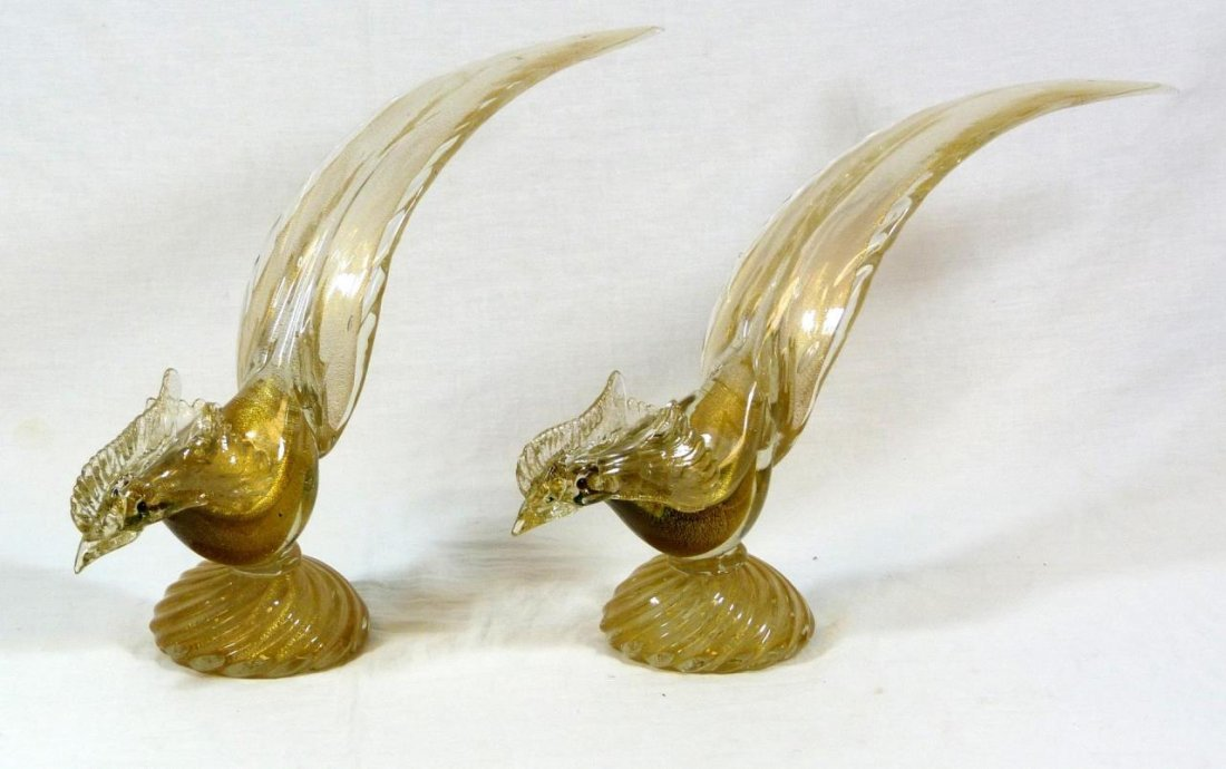 PAIR OF MURANO VENETIAN GLASS GOLD FLECK BIRDS