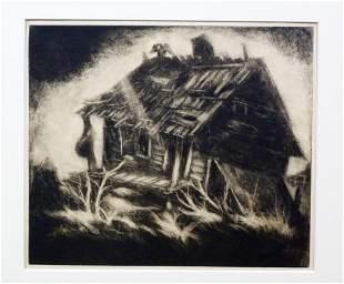 DOX THRASH (B. 1893-1965) CARBORUNDUM & MEZZOTINT