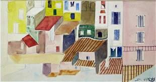 """DOX THRASH (B. 1893-1965) GOUACHE """"ROW OF HOUSES"""""""