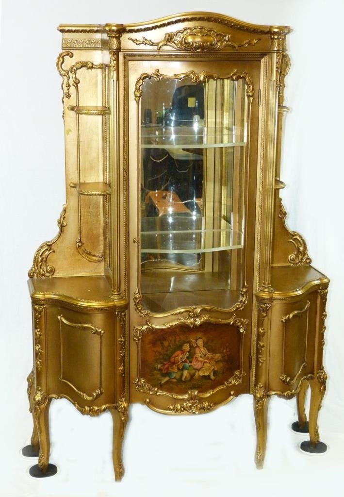 ANTIQUE FRENCH GILDED HAND PAINTED CURIO CABINET