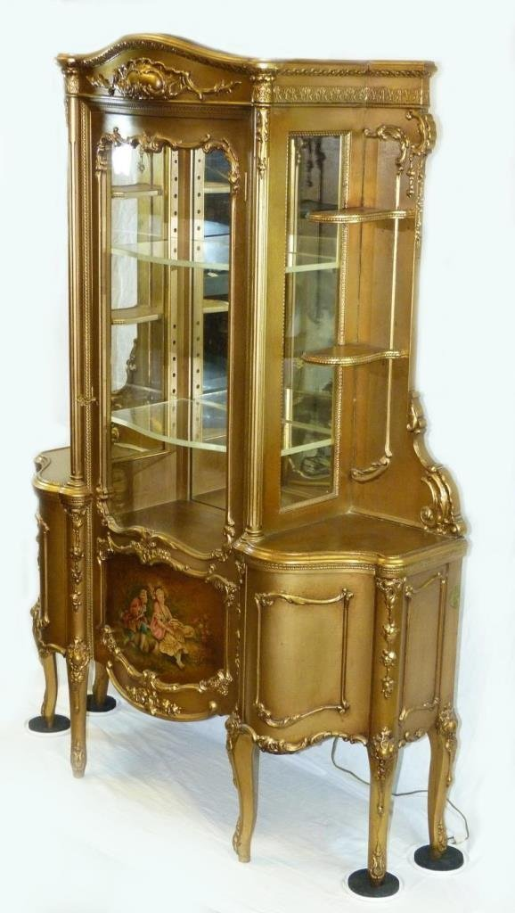 ANTIQUE FRENCH GILDED HAND PAINTED CURIO CABINET - 3