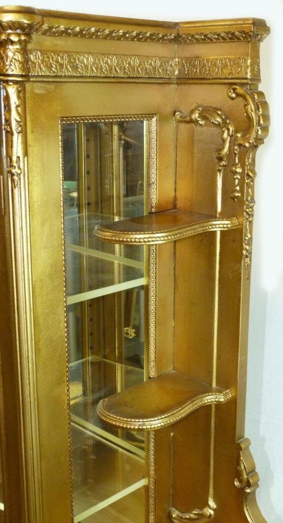 ANTIQUE FRENCH GILDED HAND PAINTED CURIO CABINET - 5