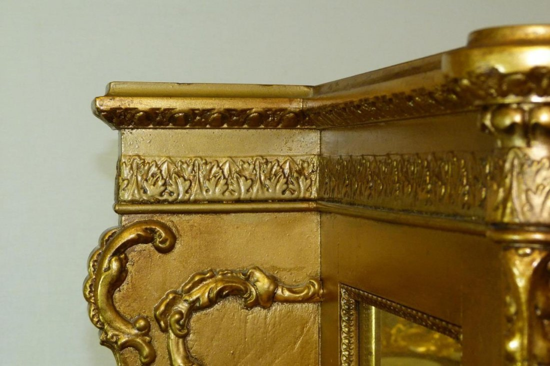ANTIQUE FRENCH GILDED HAND PAINTED CURIO CABINET - 7