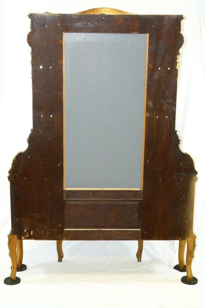 ANTIQUE FRENCH GILDED HAND PAINTED CURIO CABINET - 8