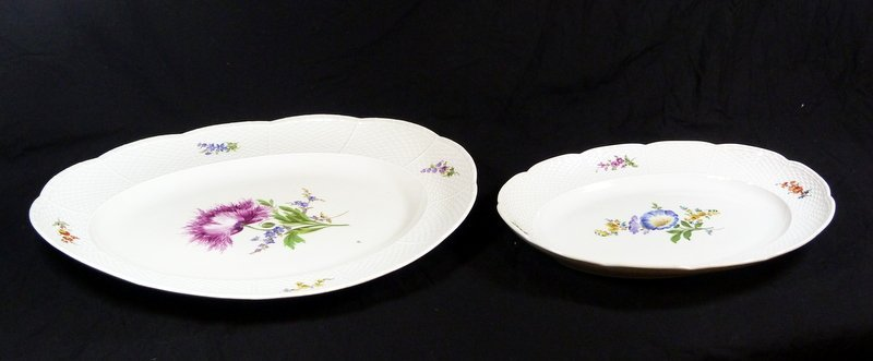 2 MEISSEN BASKET WEAVE OVAL SERVING PLATTERS