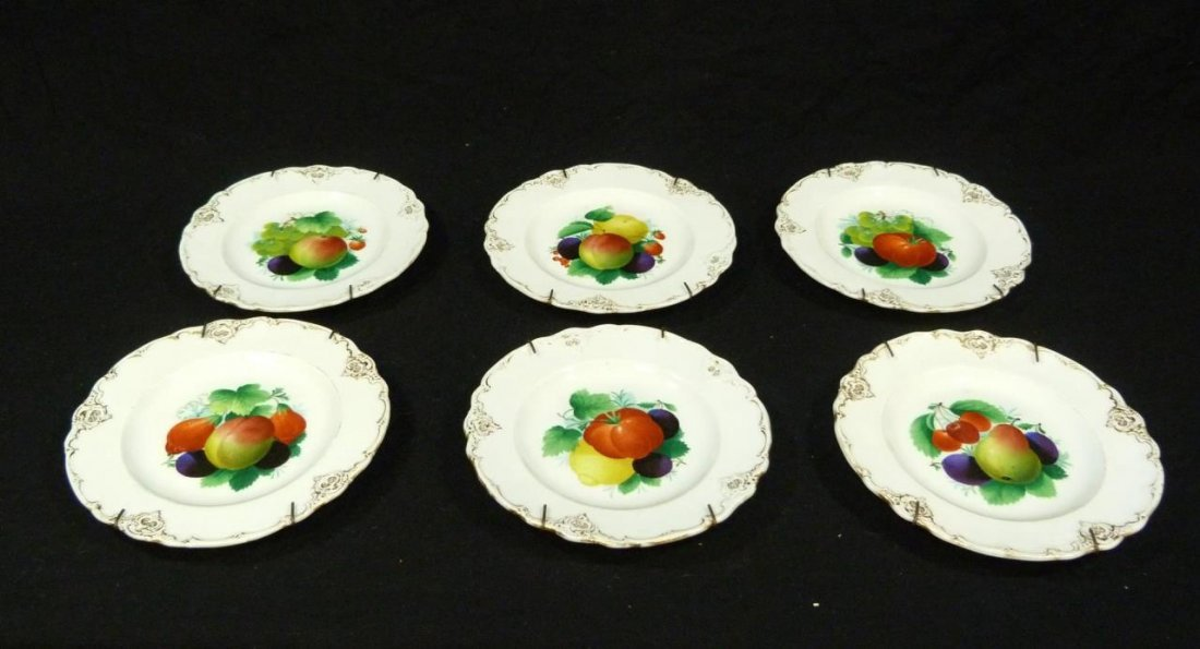 6 ANTIQUE MEISSEN HAND PAINTED FRUIT PLATES