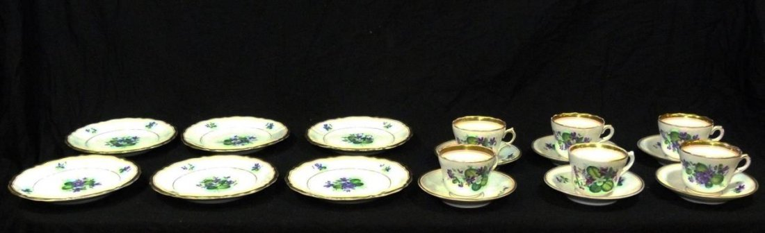 18 Pc 19th CENTURY KPM FLORAL TEACUP & DESSERT SET