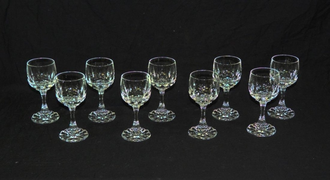 10 VILLEROY & BOCH CUT CRYSTAL CLARET WINE GLASSES