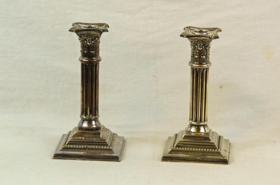Pr OF MAUSER STERLING SILVER COLUMN CANDLESTICKS