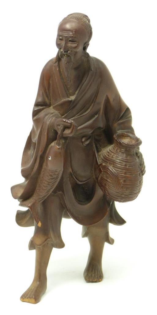 CHINESE CARVED HUANG YANG WOOD FISHERMAN FIGURE
