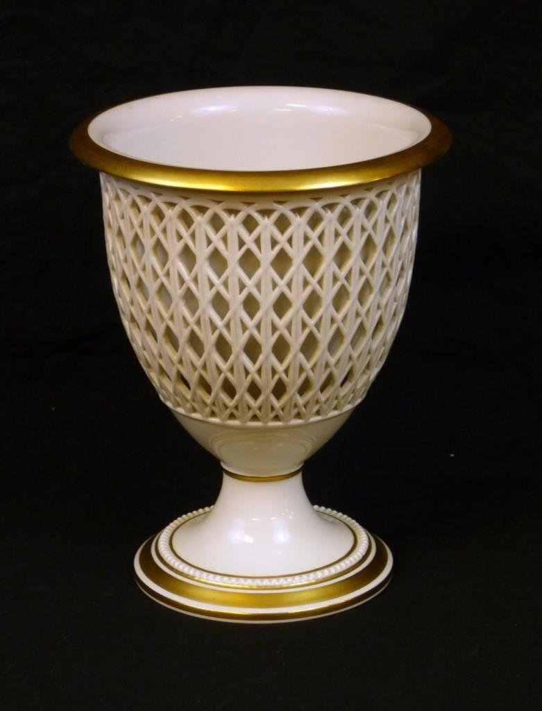 BERLIN KPM PORCELAIN CHALICE FORM VASE WITH INSERT