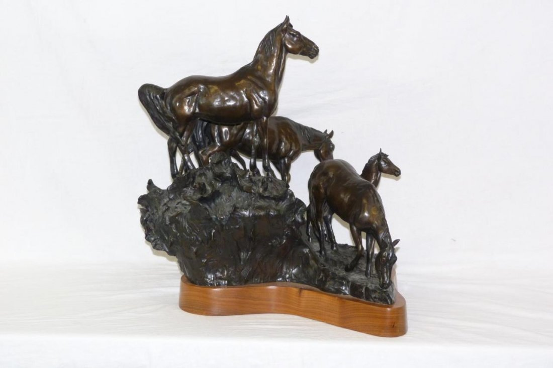 CURTIS ZABEL 'THE WATERING HOLE' BRONZE SCULPTURE - 2