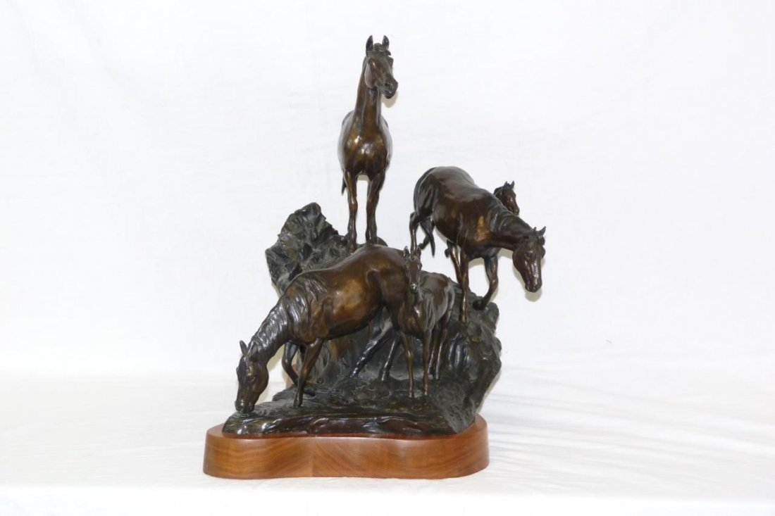 CURTIS ZABEL 'THE WATERING HOLE' BRONZE SCULPTURE - 3