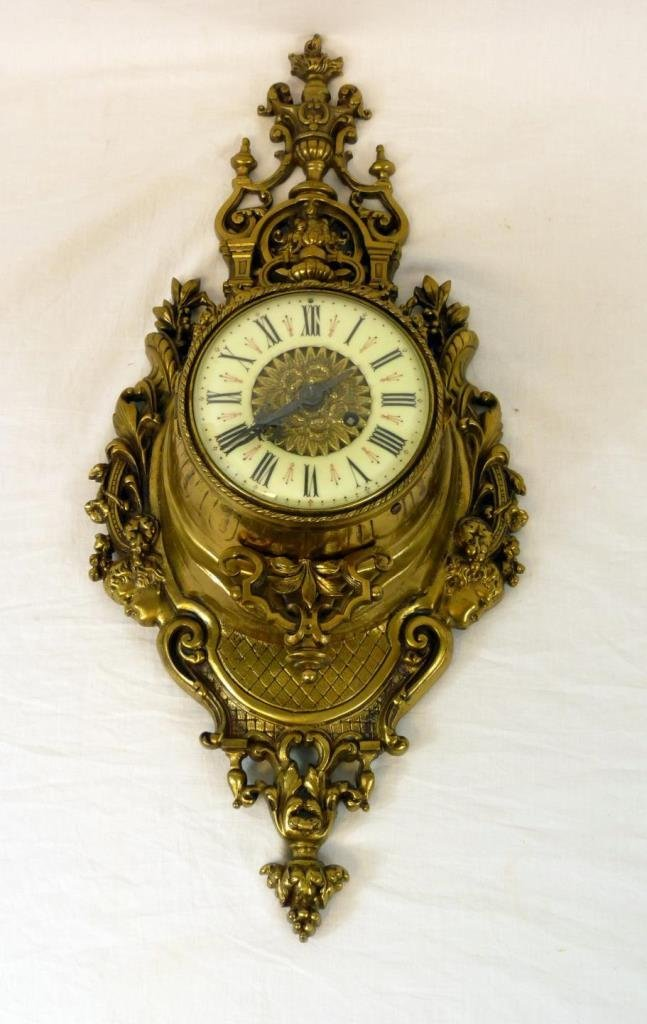 19th CENTURY FRENCH DORE BRONZE WALL CLOCK