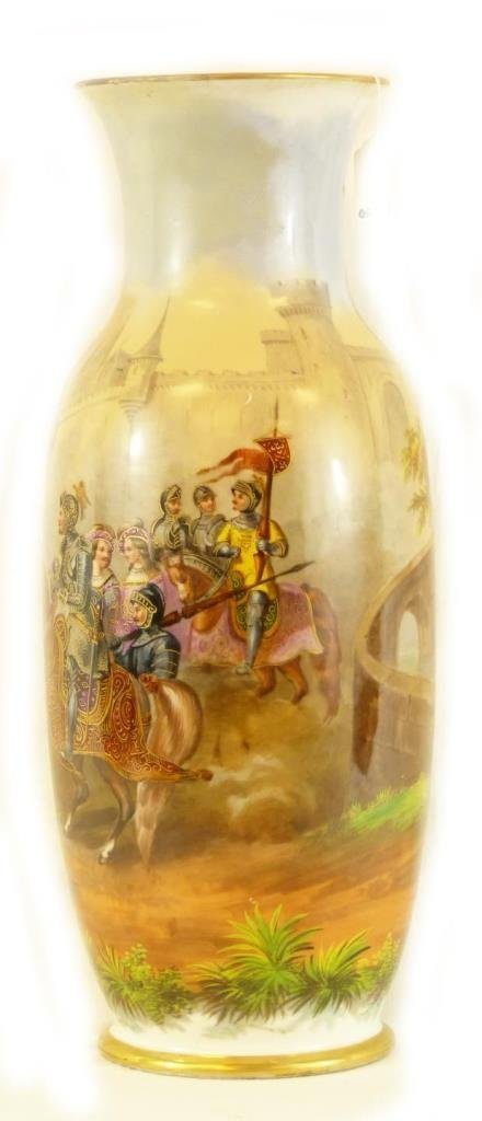 18th C FRENCH SEVRES JOUSTING SCENE PORCELAIN VASE