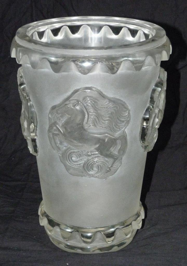 R LALIQUE FRENCH CRYSTAL 'CAMARGUE' HORSES VASE