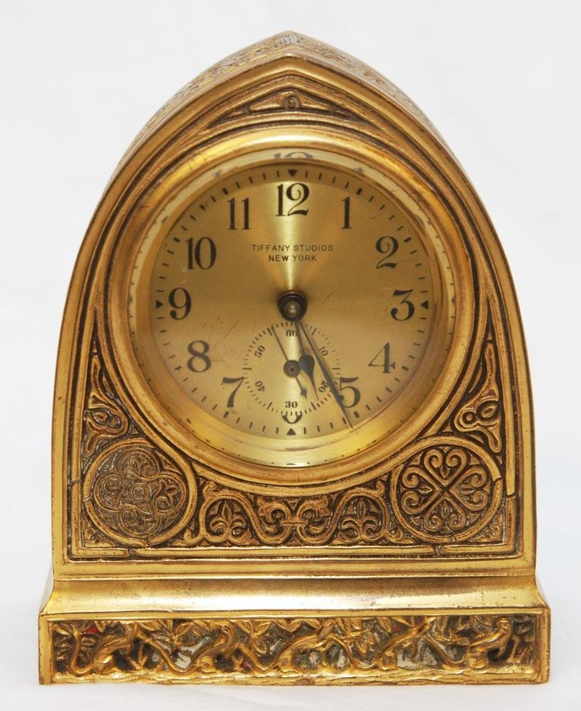 TIFFANY STUDIOS VENETIAN GILT BRONZE DESK CLOCK