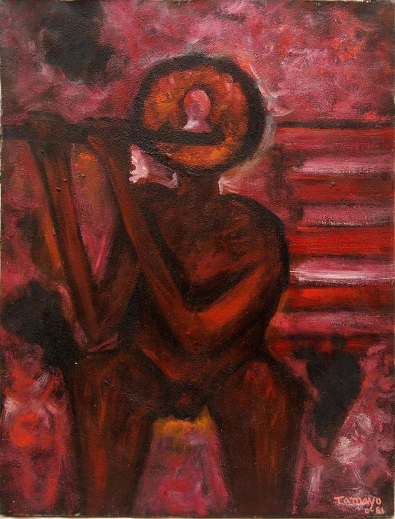 RUFINO TAMAYO OIL ON CANVAS OF SEATED FIGURE '81