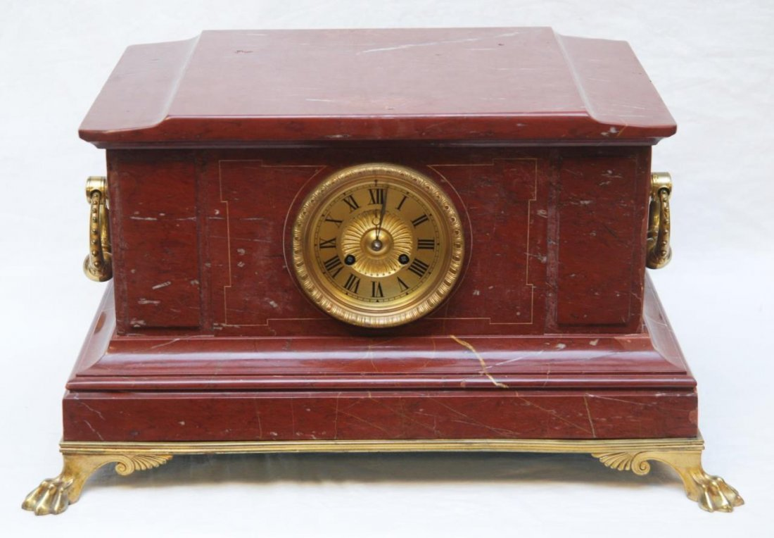 19th C FRENCH BRONZE & RED MARBLE MANTEL CLOCK