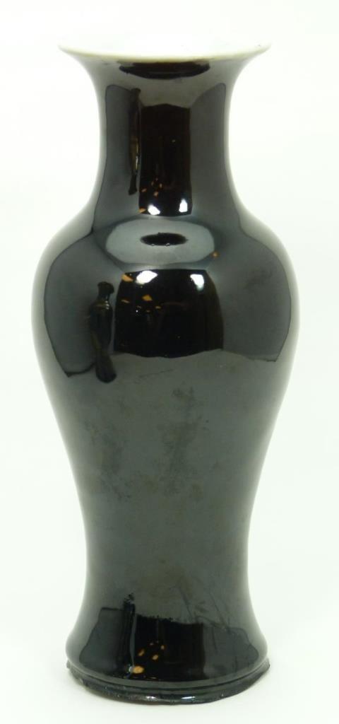 19th C CHINESE MIRROR BLACK GLAZED BALUSTER VASE
