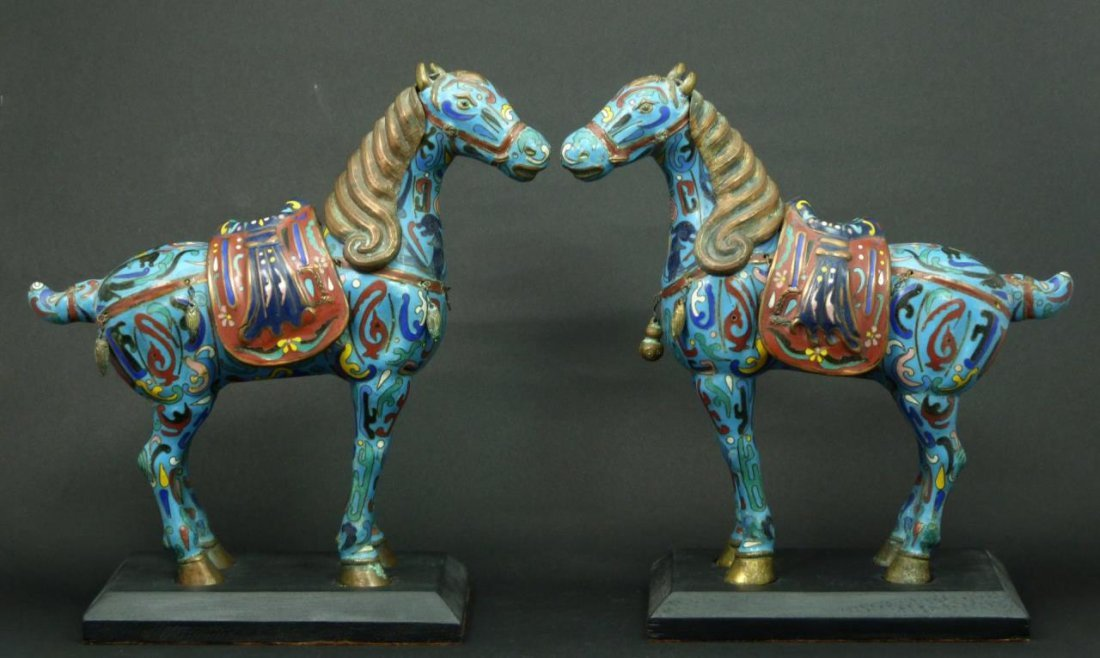 Pr CHINESE CLOISONNE TANG HORSE FIGURES