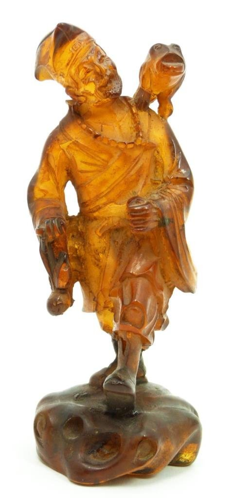 18th/19th C CHINESE CARVED GOLDEN AMBER LU HAI