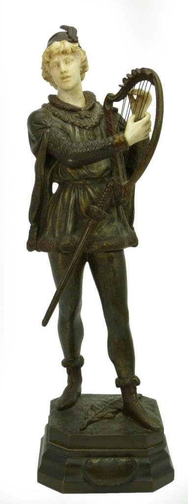 JEAN DEBUT FRENCH BRONZE SCULPTURE OF BARD