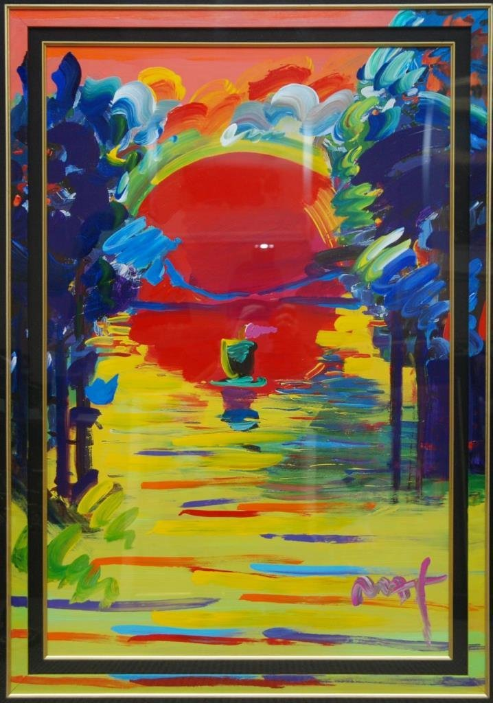 PETER MAX MIXED MEDIA OIL PAINTING OF SEASCAPE