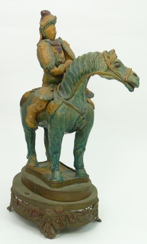 CHINESE TANG STYLE SANCAI GLAZE POTTERY HORSE