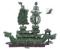 PALATIAL CHINESE CARVED JADE DRAGON BOAT ON BASE