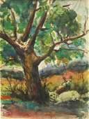 DOX THRASH 'CATS UNDER TREE' ORIGINAL WATERCOLOR