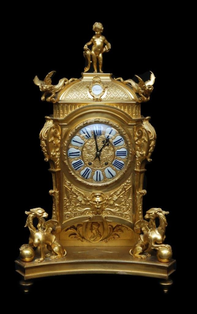 19th C FRENCH JAPY FRERES DORE BRONZE MANTEL CLOCK