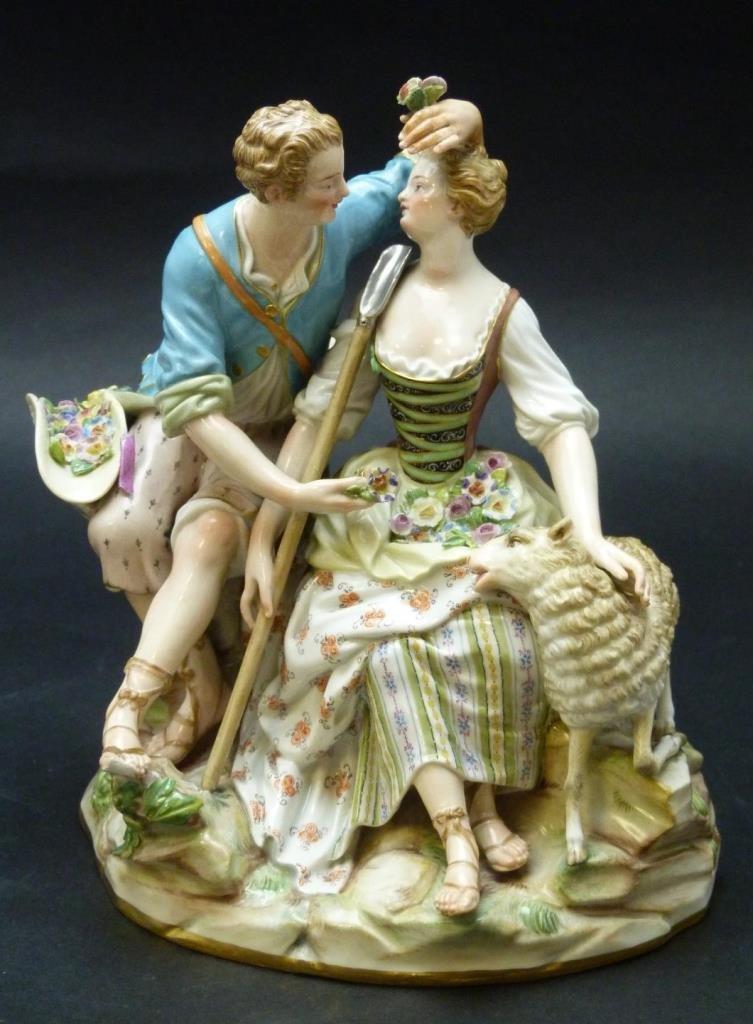 19th CENTURY MEISSEN GROUP 'SHEPHERD LOVERS' A41.