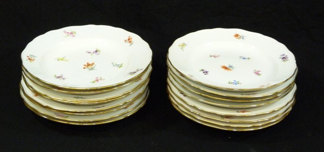 16 19th C MEISSEN FLORAL SCALLOPED DINNER PLATES
