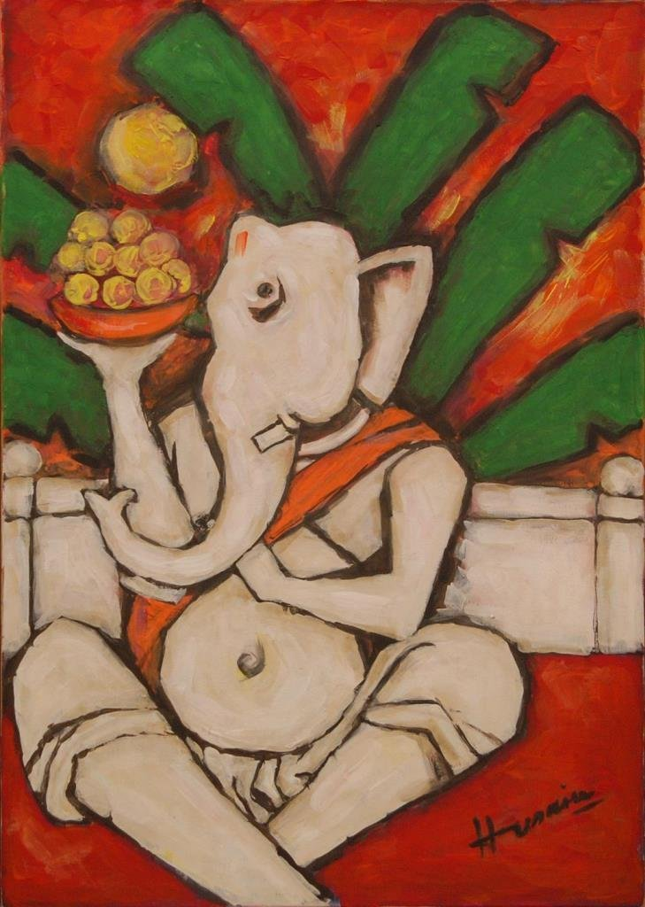 M F HUSAIN OIL PAINTING ON CANVAS OF GANESHA