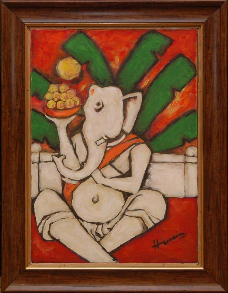 M F HUSAIN OIL PAINTING ON CANVAS OF GANESHA - 2