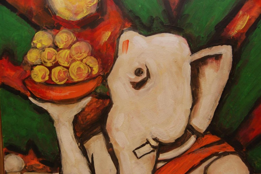 M F HUSAIN OIL PAINTING ON CANVAS OF GANESHA - 3