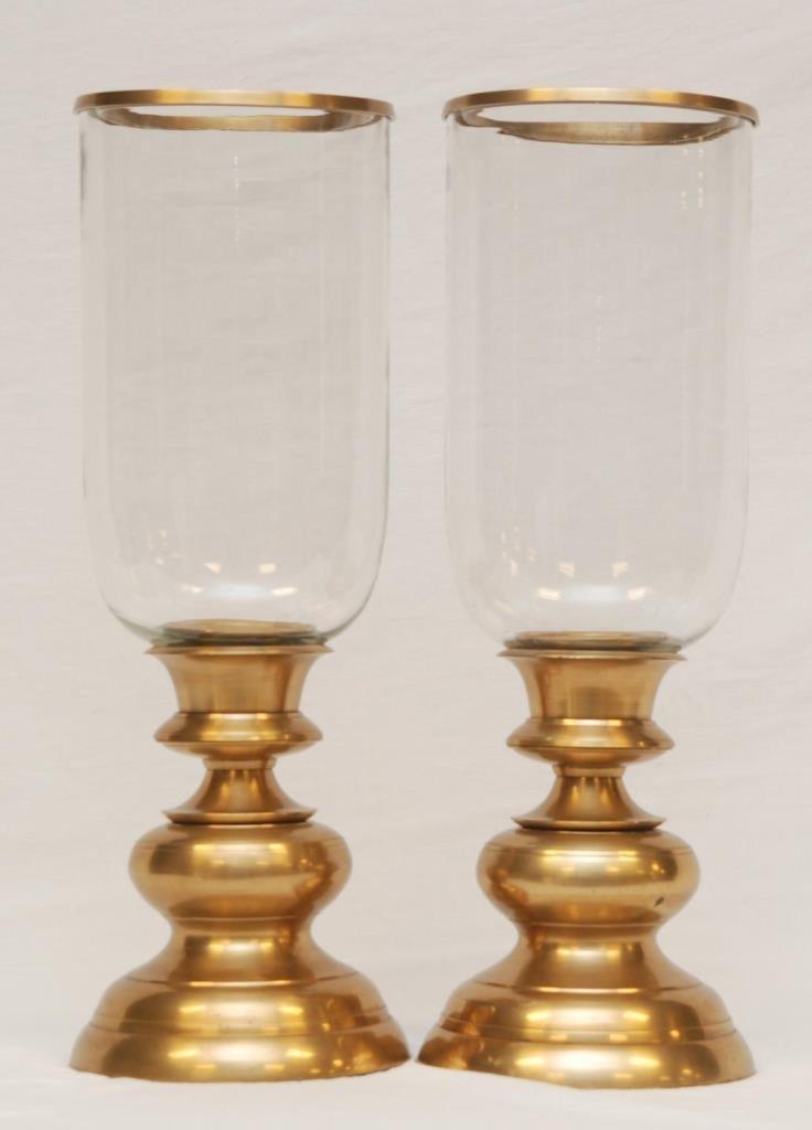 Pr BRASS MOUNTED GLASS DOME HURRICANE CANDLESTICKS