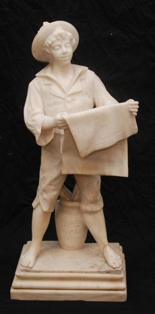 ITALIAN CARVED MARBLE SCULPTURE OF NEWSPAPER BOY