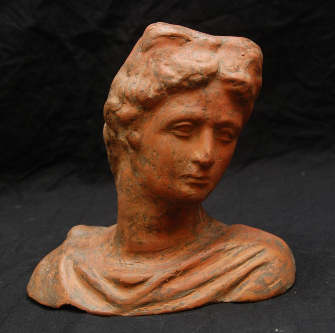 LATE 19th C TERRACOTTA POTTER BUST OF DIANA
